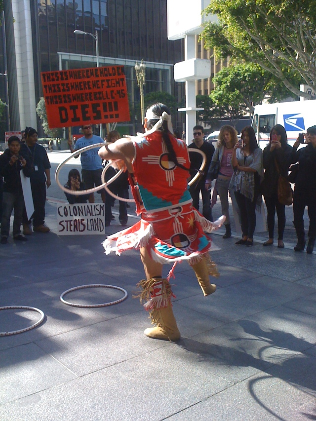 There was a lot of dancing.  I round-danced and this man performed a hoop dance for our healing.  It was amazing. This picture does not do it justice.